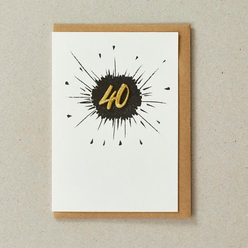 Embroidered Age Card - Age 40 (Black)