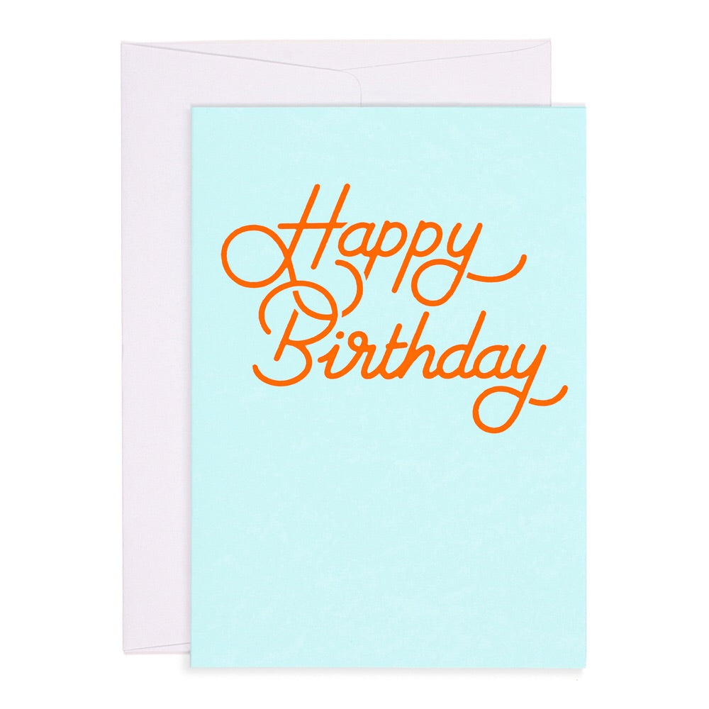 Happy Birthday Neon Orange on Aqua card