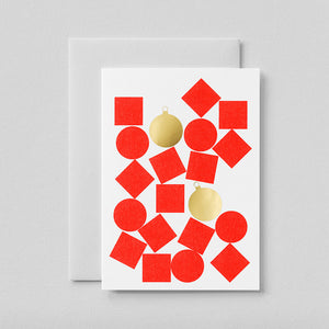 Red and Gold Baubles card