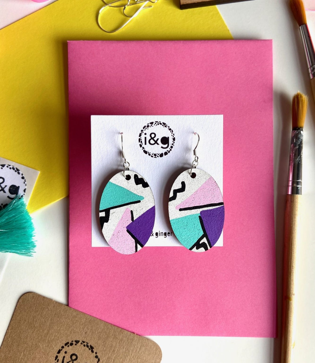 Oval Hand Painted Wooden Drop Earrings.