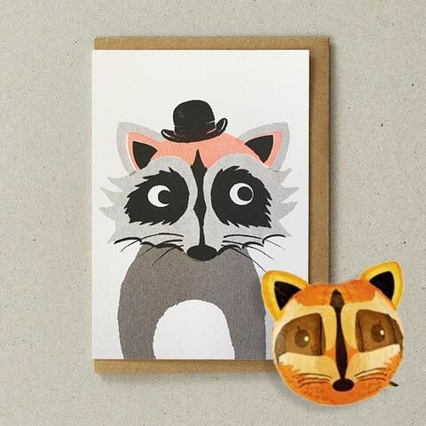 Raccoon Japanese Paper Balloon Card