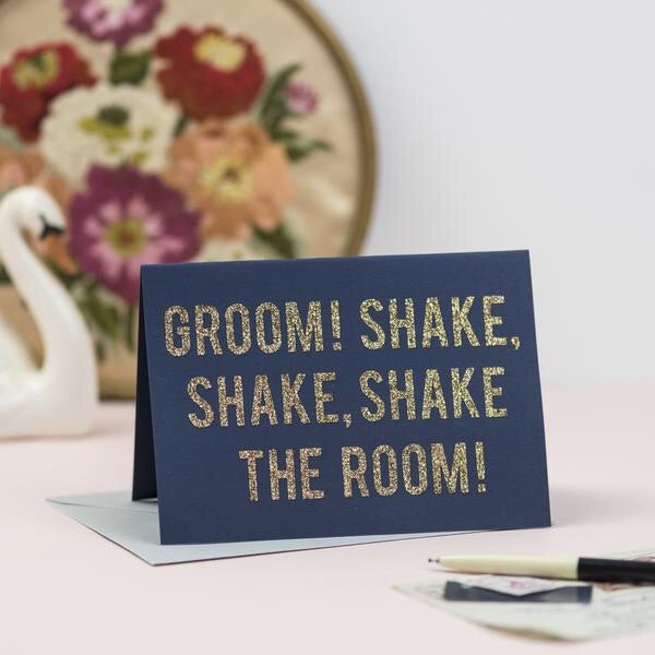 'Groom! Shake Shake Shake the Room' card