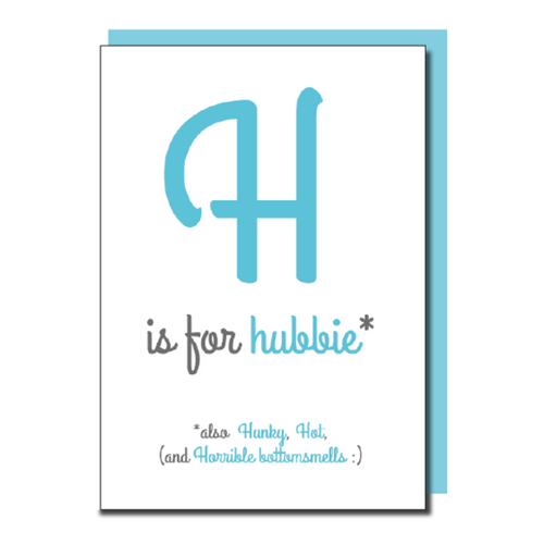 'H is for Hubbie' card