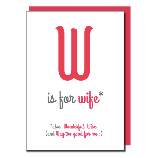 'W is for Wife' card