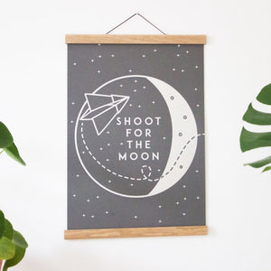 Shoot For The Moon A3 Print Silver/Grey