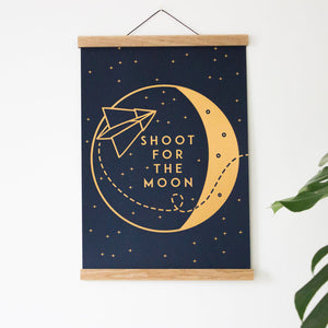 Shoot For The Moon A3 Print Gold/Navy Blue