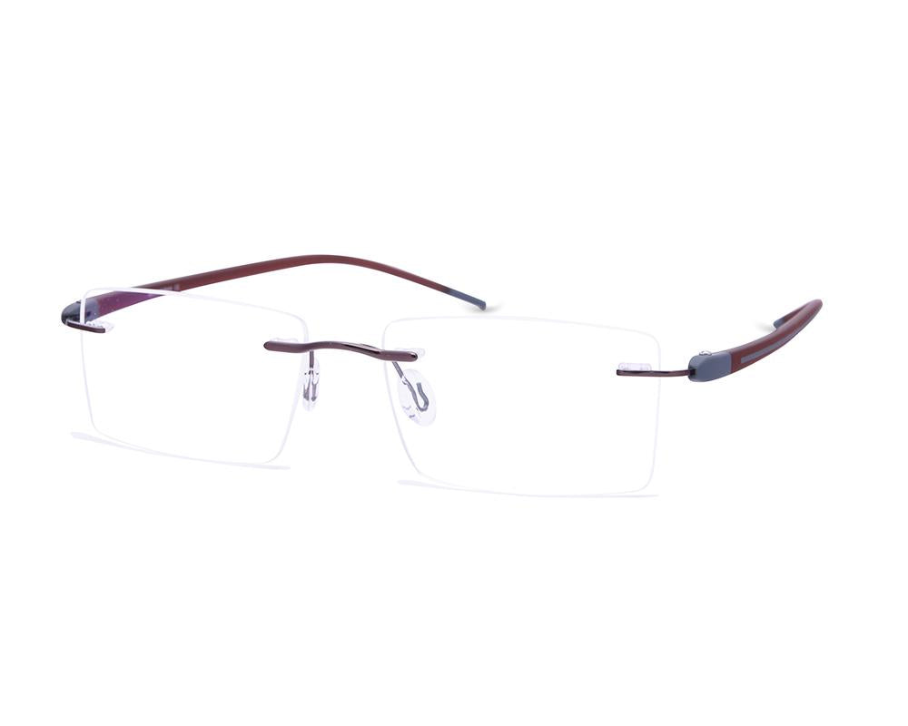 RECTANGLE BROWN SHINE WITH BROWN RIMLESS METAL