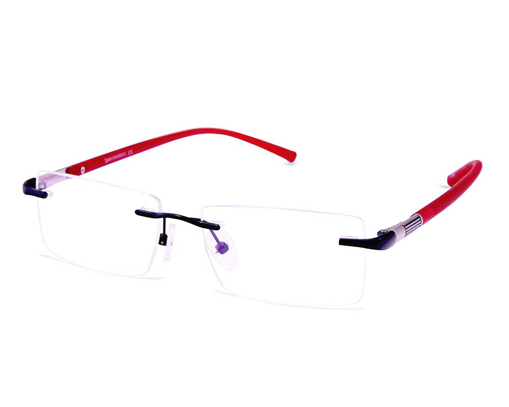 RECTANGLE BLACK WITH RED RIMLESS AMG1721 - Specsmakers