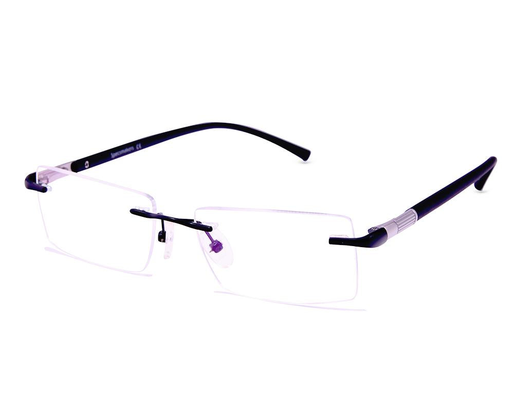 RECTANGLE BLACK WITH BLACK RIMLESS AMG1721 - Specsmakers