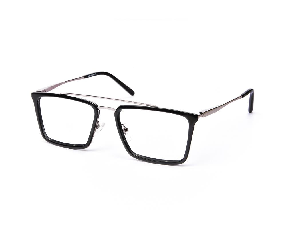 RECTANGLE BLACK SHINE WITH SILVER SHELL FRAME SS6464