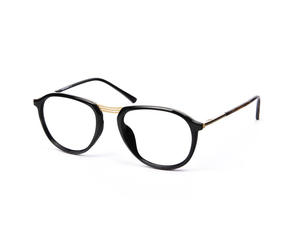 OVAL BLACK SHINE WITH GOLD SHELL FRAME SS10515