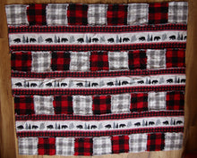 Load image into Gallery viewer, Bear and Red Plaid Rag Quilt