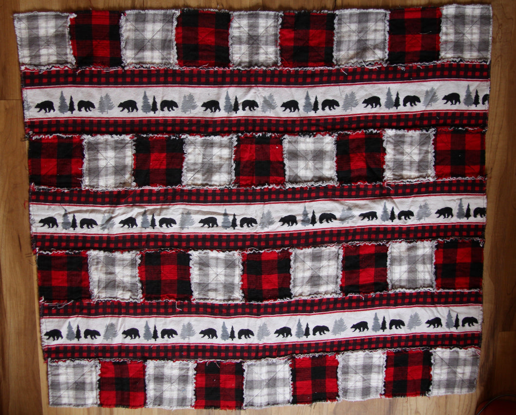 Bear and Red Plaid Rag Quilt