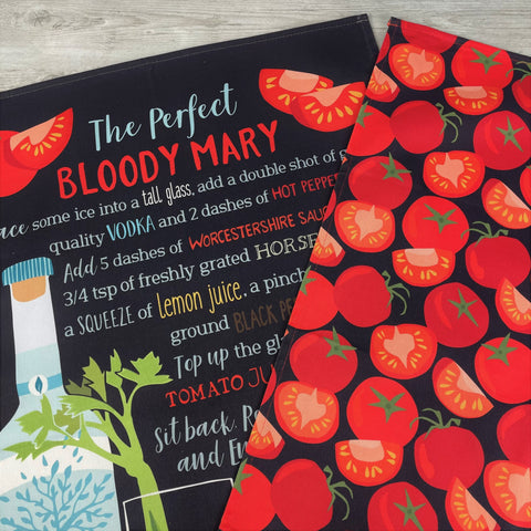 Sale Item: 'The Perfect Bloody Mary and Tomato Pattern' Tea Towel Duo