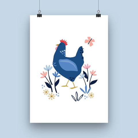 'Blue  Sussex Hen' Art Print