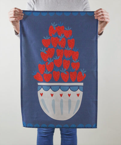 Sale Item: 'Bowl of Strawberries' Tea Towel (Muted Colours)