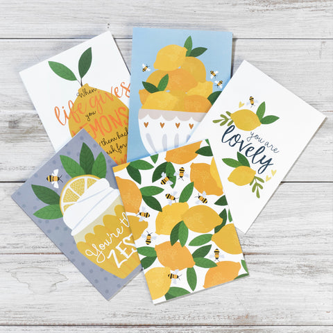 'Lemons and Bees' Greeting Card Set