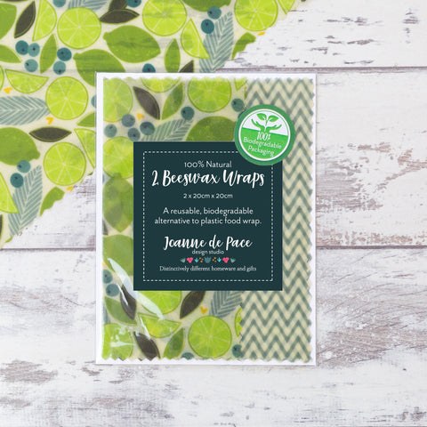 'Lime Zest' Beeswax Wraps - Small Pack