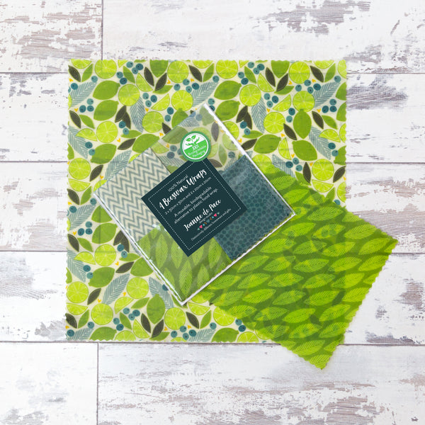'Lime Zest' Beeswax Wraps - Mixed Pack