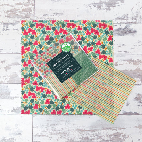 'Blossom & Ditsy Tulip' Beeswax Wraps Mixed Pack