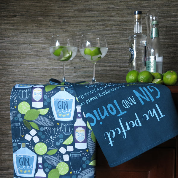 'Gin and Tonic Pattern' Tea Towel
