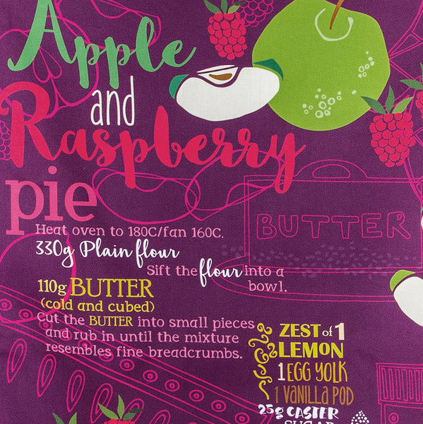 Apple & Raspberry Pie Tea Towel Close-Up