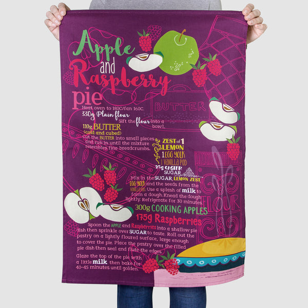Apple & Raspberry Pie Tea Towel