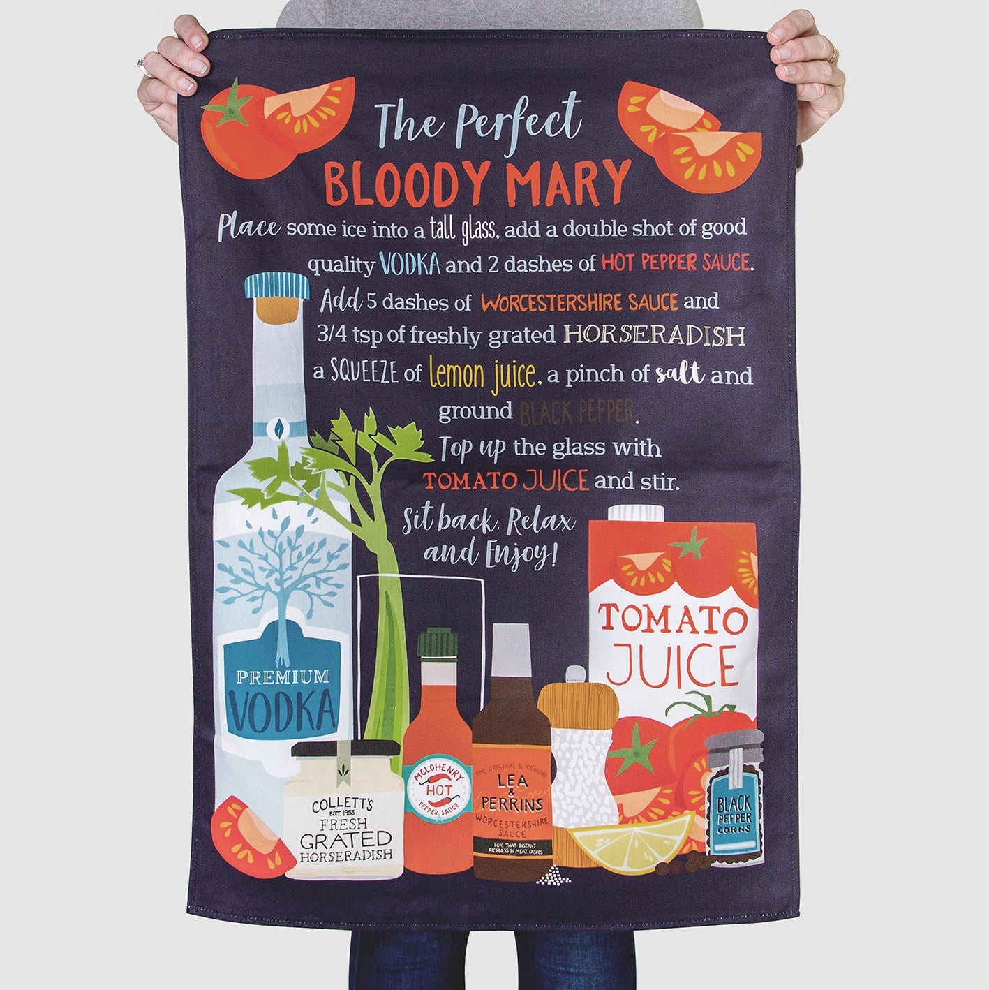 'The Perfect Bloody Mary Recipe' Tea Towel