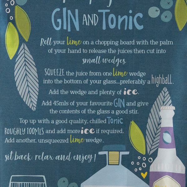 Perfect Gin & Tonic Recipe Tea Towel