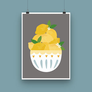 'Lemon Bowl' Art Print