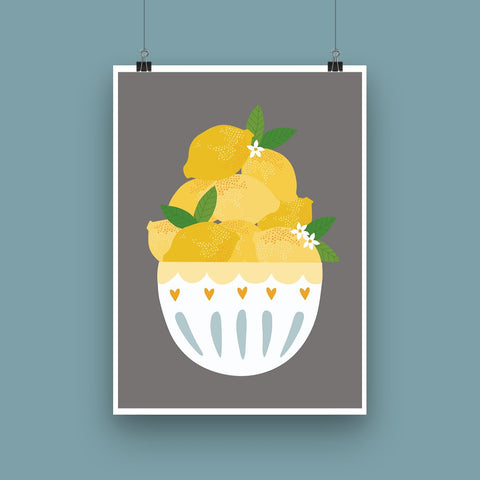 Lemon Bowl Art Print