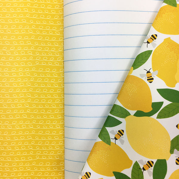 'Lemons and Bees Pattern' A5 Lined Notebook