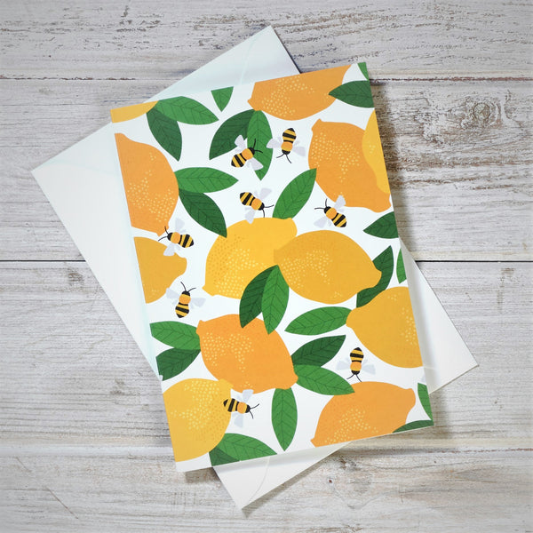 Lemon & Bees Greeting Card