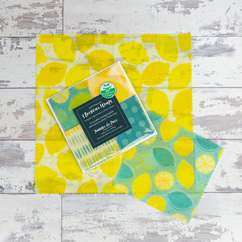 'Lovely Lemons' Beeswax Wraps Mixed Pack