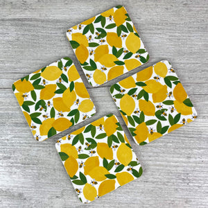 'Lemons & Bees' Coasters (Set of 4)