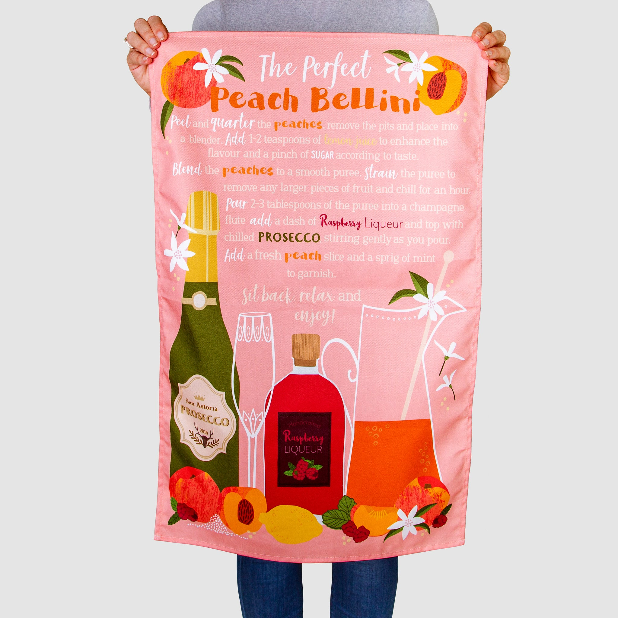 'The Perfect Peach Bellini' Tea Towel