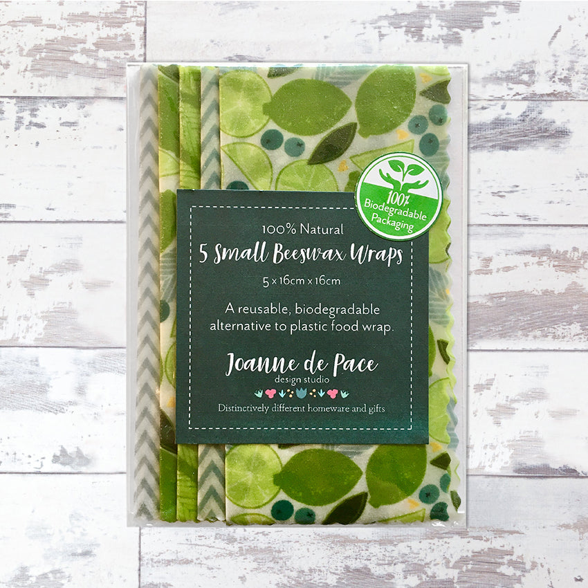 'Lime Zest' Beeswax Wraps - Pack of 5 Small Wraps