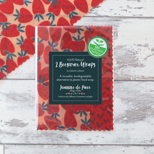 'Strawberry Fling' Beeswax Wraps - Pack of 2 Medium Wraps