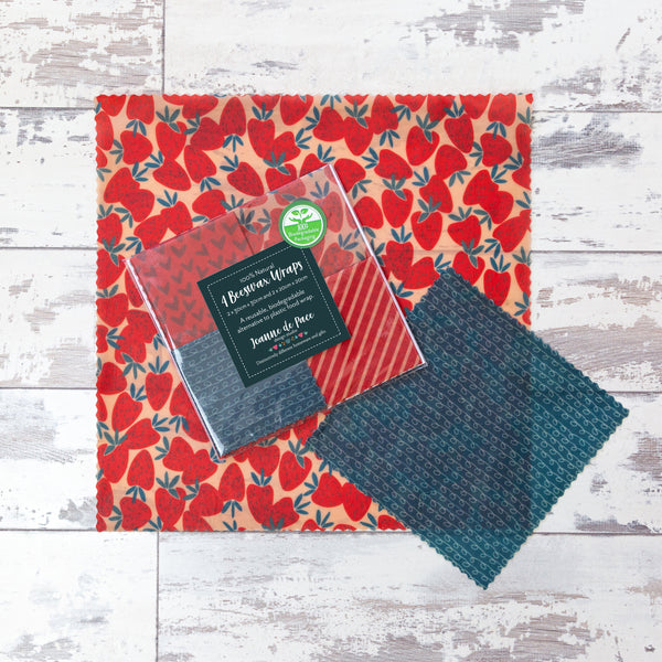 'Strawberry Fling' Beeswax Wraps - Mixed Pack