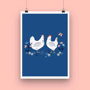 'Sussex Hens' Art Print
