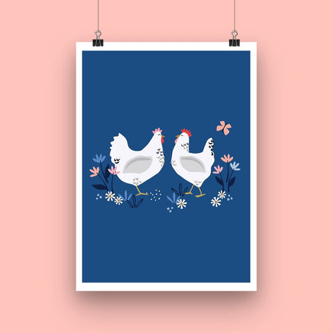 Sussex Hens Art Print