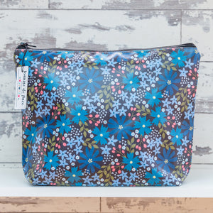 'Wild Blue Flowers' Oilcloth Wash Bag