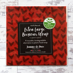Red Hearts Beeswax Wraps