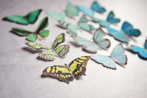 Green silk butterfly hair clips with sparkling Swarovski
