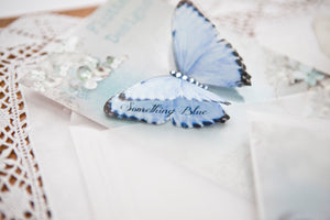 Something Blue silk Butterfly with personal message