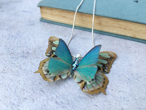 Handmade silk butterfly necklace by Flutter Designs