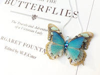 Silk Butterfly necklace handmade by Flutter Designs