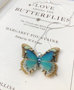 Turquoise silk butterfly necklace with Swarovski Crystals