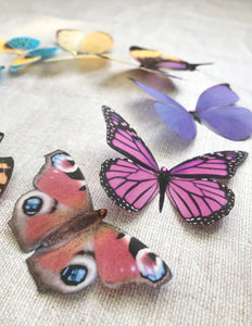 Bright rainbow silk butterfly embellishments by Flutter Designs