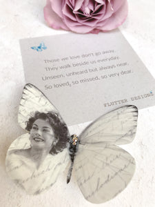 Silk Butterfly personalised with the image of your choice by Flutter Designs, with a script finish.